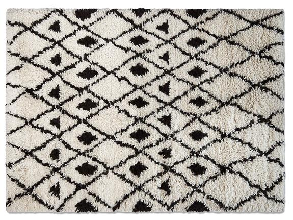Benni Small Black White Diamond Patterned Rug 120cm X 180cm
